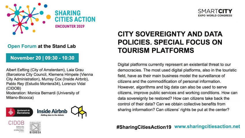 Poster of the City sovereignty and data policies panel, in Sharing Cities Action 2019