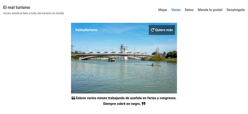 Captura de pantalla del sitio El mal turismo