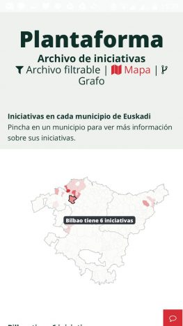 Captura de pantalla sitio web Alimentación Salidable: versión móvil del mapa de iniciativas