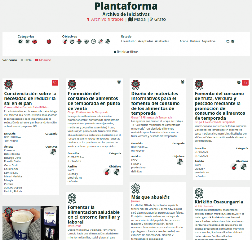 Captura de pantalla sitio web Alimentación Salidable: plantaforma