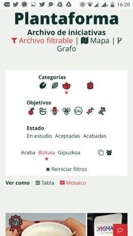Captura de pantalla sitio web Alimentación Salidable: versión móvil de la plantaforma