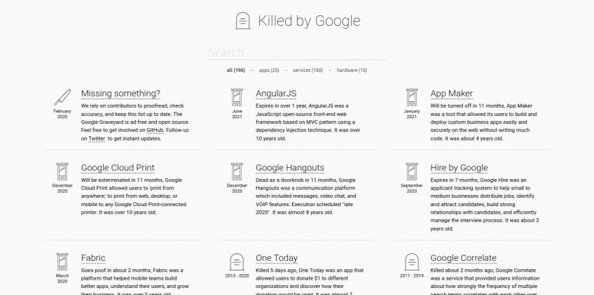 Captura de pantalla de killedbygoogle.com